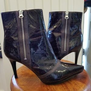 Carlos Santana Brown Patent Leather Boots